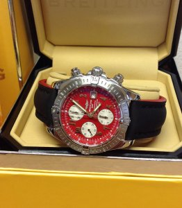 Breitling Chronomat Evolution A13356 Red Arabic Numeral Dial Just Serviced By Breitling UK