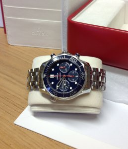 Omega Seamaster 300M Co-Axial Chronograph Blue Ceramic 212.30.42.50.03.001 From 2014
