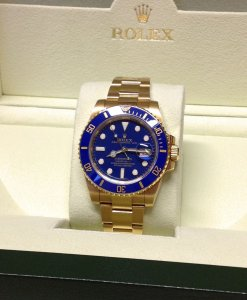 Rolex Submariner Date 116618LB 18ct Yellow Gold Blue Ceramic Bezel Blue Dial 2010
