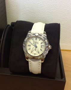 Breitling Galactic 36 A37330 Mother Of Pearl Baton Dial White Sahara Strap