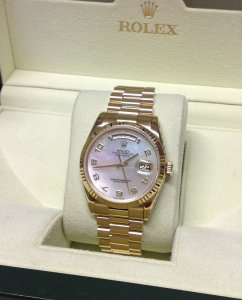 Rolex Day-Date 118238 18ct Yellow Gold White M.O.P Dial Just Serviced By Rolex UK