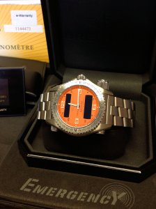 Breitling Emergency Coral Dial 2013 E76321 First Service Free Of Charge