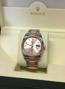 Rolex Datejust 36mm 116201 Steel & Rose Gold Rose Baton Dial 2012