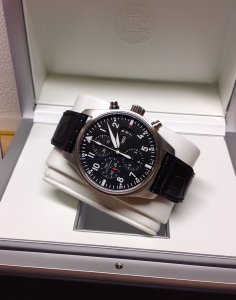 IWC Pilots Chronograph IW377701 Black Day-Date Dial 2015 Unworn