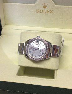 Rolex Datejust Lady 31mm 178384 Diamond Bezel White M.O.P Roman Numeral Dial Pave Six From 2014
