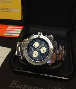 Breitling Emergency Mission Blue Dial A73322 From 2008 Recently Serviced By Breitling UK