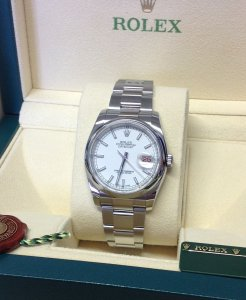 Rolex Datejust 36mm White Baton Dial Domed Bezel 116200 From 2014