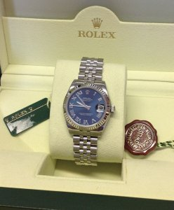 Rolex Datejust Lady 31mm 178274 Mid/Size Blue Roman Numeral Dial Brand New Unworn 2015