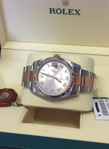 Rolex Datejust 116231 36mm Steel & Rose Gold Rose Roman Numeral Dial Brand New Unworn