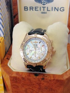 Breitling Crosswind Special K44355 18ct Yellow Gold Mother Of Pearl Dial just Serviced By Breitling UK