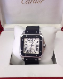 Cartier Santos 100 W20121U2 Black Rubber
