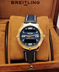 Breitling Aerospace K65062 18ct Yellow Gold Blue Dial