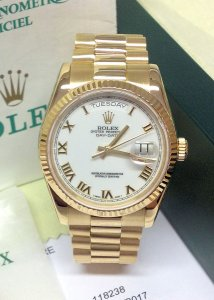 Rolex Day-Date 118238 Yellow Gold White Roman