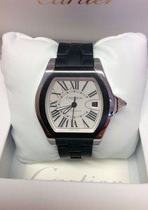 Cartier Roadster W6206018 Silver Roman Black Rubber
