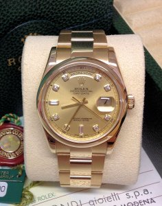 Rolex Day-Date 118208 Yellow Gold Diamond Dial