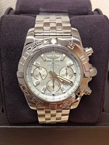 Breitling Chronomat 44 AB0110 Grey M.O.P Diamond Dial