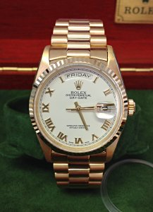 Rolex Day-Date 18238 Yellow Gold White Roman