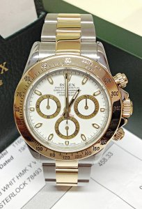 Rolex Daytona Bi/Colour 116523 White Baton Dial