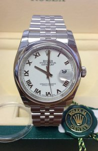 Rolex Datejust 116200 36mm White Roman Unworn