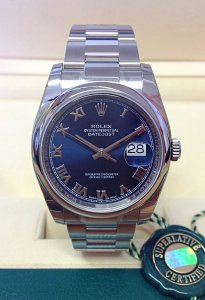 Rolex Datejust 116200 36mm Blue Roman Unworn