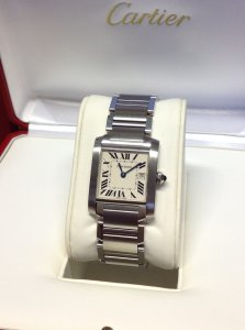 Cartier Tank Francaise W51011Q3 25mm Mid/Size White Roman Numeral Dial