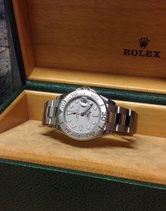 Rolex Yachtmaster 168622 35mm Mid/Size Platinum Dial & Bezel From 2002