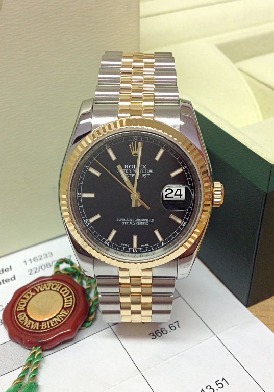 Rolex Datejust 116233 Bi/colour 36mm Black Dial