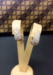 Pave Hoop Clip Earrings