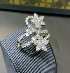 Twin Row Diamond Crossover Ring