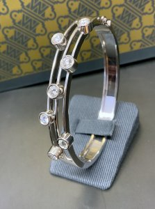 White Gold Triple Row Diamond Bangle