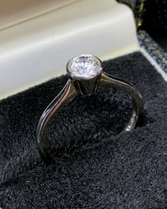 Platinum Rub Over Set Solitaire Ring
