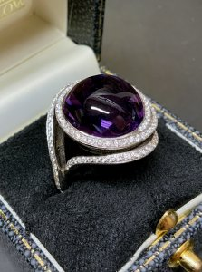 Amethyst Diamond Spiral Ring