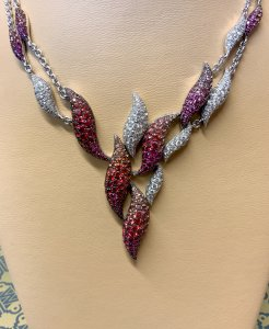 Diamond, Sapphire and Ruby Fire Necklet