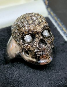 White Gold Pave Skull Ring