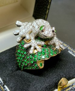 Yellow & White Gold Pave Frog Ring