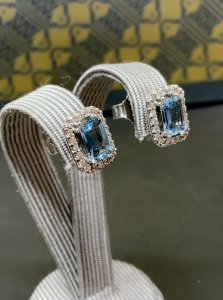 White Gold Aquamarine & Diamond Stud Earrings