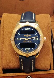Breitling Aerospace K65062 Yellow Gold Blue Dial