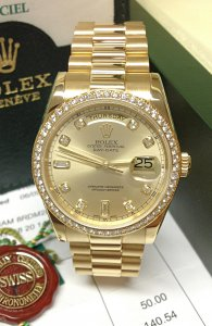Rolex Day-Date 118348 Yellow Gold Diamond Bezel