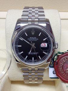 Rolex Datejust 116200 36mm Black Baton