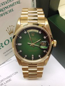 Rolex Day-Date 18028 Yellow Gold Green Diamond