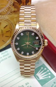 Rolex Datejust 26mm 69178 Yellow Gold Green Diamond