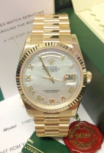 Rolex Day-Date 118238 Yellow Gold M.O.P. Dial