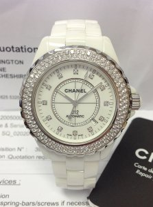 Chanel J12 H2013 White Ceramic 41mm Diamond Set
