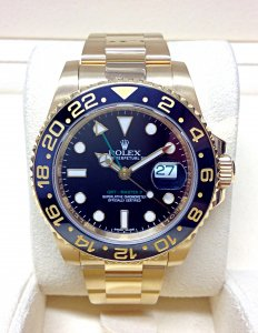 Rolex GMT Master II 116718LN Yellow Gold Black Dial