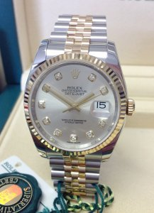 Rolex Datejust 36mm 116233 Silver Diamond