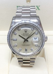 Rolex Day-Date 118399BR White Gold Baguette Bezel