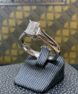 Platinum Emerald Cut Solitaire Ring