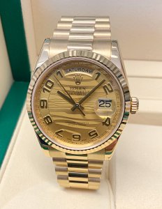 Rolex Day-Date 118238 Yellow Gold 36mm Wave Dial