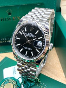 Rolex Datejust 126234 36mm Black Baton Unworn