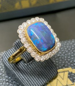 Opal Diamond Cluster Ring
